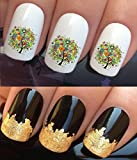 WATER NAIL TRANSFERS DECALS STICKERS ART SET #327. PLUS GOLD LEAF SHEET! x24 COLOURFUL TREE OF LIFE BUTTERFLIES & FLOWERS WRAPS & 24KT GOLD! CAN BE USED WITH NATURAL GEL ACRYLIC STICK ON NAILS! OR WITH GLITTER DUST CAVIAR BEADS ALLOYS DECORATIONS CONFETT