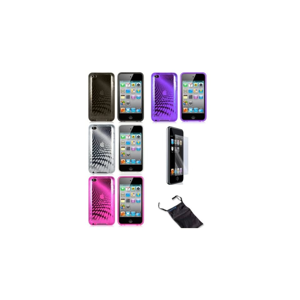 4 Pcs Wave Design Soft Crystal Skin Silicone Tpu Skin Gel Cover Case for Apple Ipod Touch Itouch 4 4g 4th Gen + Lcd Screen Guard + Microfiber Pouch Bag ( Clear, Black, Hot Pink, Purple )