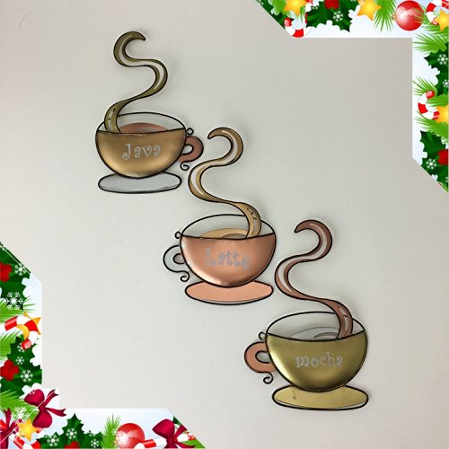 Adorox Set of 3 Coffee Mug Hanging Wall Art Latte Java Mocha Lightweight Metal Home Decor Coffeehouse Cup (Coffee Cups Kitchen Decor compare prices)
