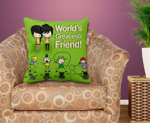 TIEDRIBBONS World's Greatest Friend Gift for Friend Cushion Cover(12 inch x 12 inch) with Filler  available at amazon for Rs.299
