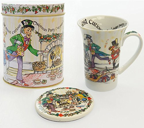 """Cardew Design """"Alice In Wonderland - Alice'S Christmas Party"""" 14 Oz Tea Party Mug, Coaster And Tin Can Set"""