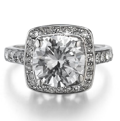 D&J Jewelry 18K White Gold Plated Sparkly Round