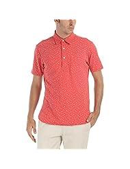 Zobello Men's Long Line Printed Knit Polo T-shirt