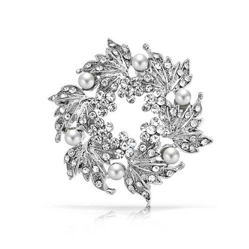 Bling Jewelry Flore Blanco Perla Cristal Hoja Navidad Corona Nupcial Pin broche