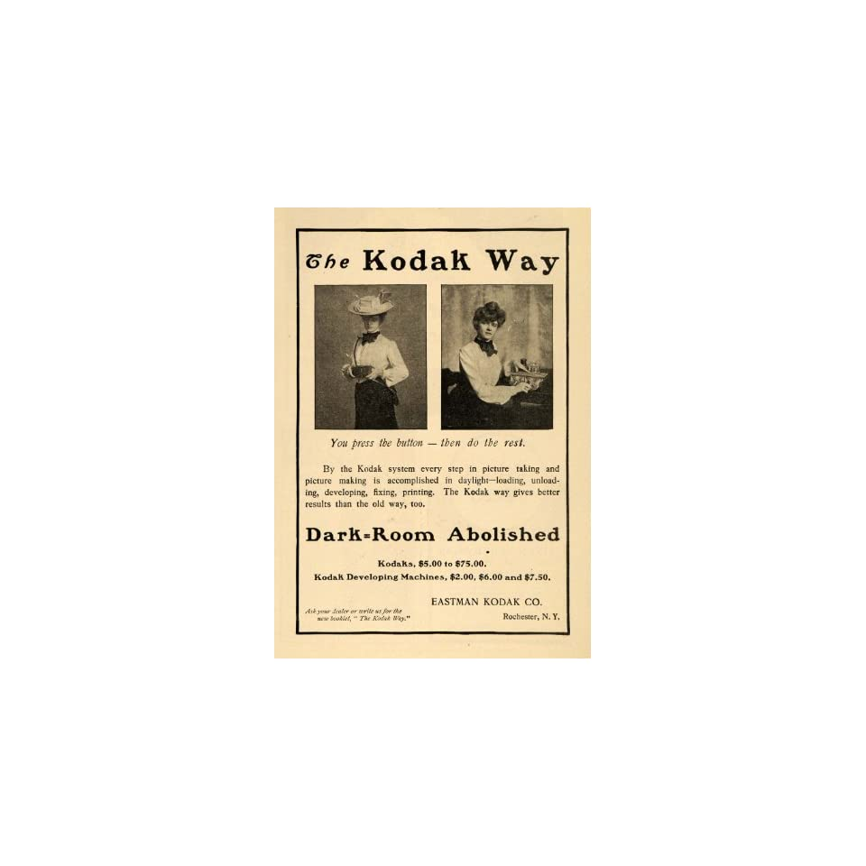 1902 Ad Eastman Kodak Cameras Film Developing Machines