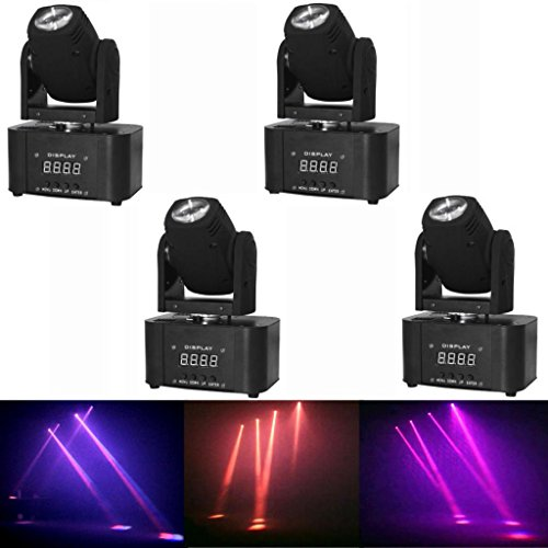 Yiscortm Stage Lighting Led Moving Head Beam Light Rgbw 4In1 Cree Full Color Dmx512 8Ch For Disco Dj Club Home Garden Party Wedding Effect (Pack Of 4)