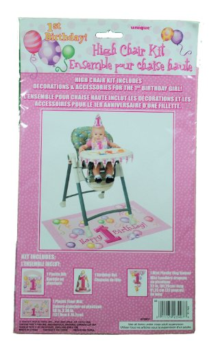 First Birthday Girl High Chair Kit front-382180