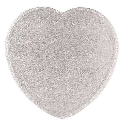 Heart Shaped Cake Board - Silver 12inch (Covered Cake Boards compare prices)
