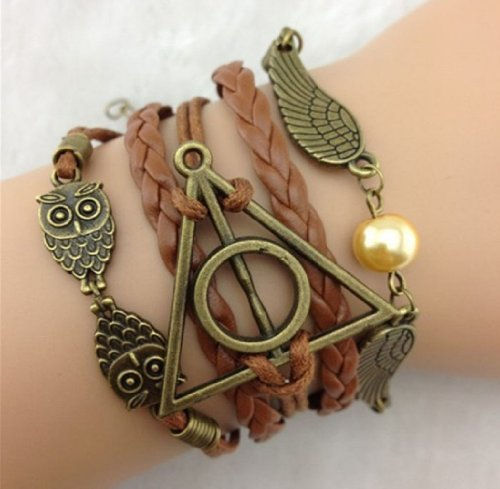 ABC 1 pcs Brown Infinity Retro Owl Angel Wings
