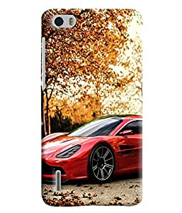 Blue Throat Sports Car In Red Printed Desginer Back Cover/Case For Huawei Honor 6