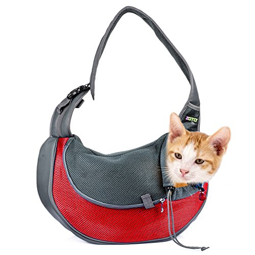 Pet Carrier Bag,ZOTO Lightweight Pet Travel Bag Carrier High Security Pet Sling Carrier,Breathable Mesh Travel Tote Sling Carrier,Soft Padded Single Shoulder Small Pet Carrier for Travel or Outdoor