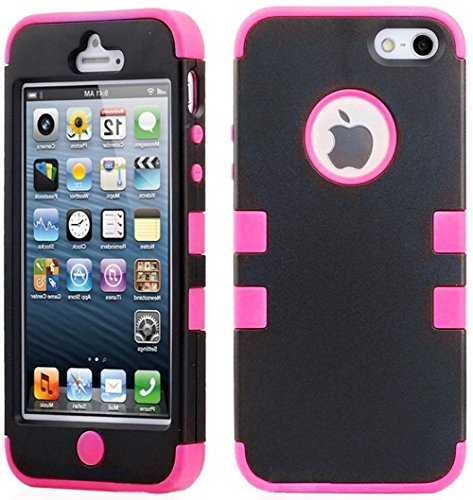 Mylife Hot Pink - Black Flat Matte Series (Neo Hypergrip Flex Gel) 3 Piece Case For Iphone 5/5S (5G) 5Th Generation Smartphone By Apple (External 2 Piece Fitted On Hard Rubberized Plates + Internal Soft Silicone Easy Grip Bumper Gel)