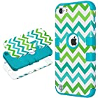 iPod Touch 5 case,ULAK® Hybrid Hard Pattern with Silicon Case Cover for Apple iPod Touch 5 Generation (Blue/Green Wave)