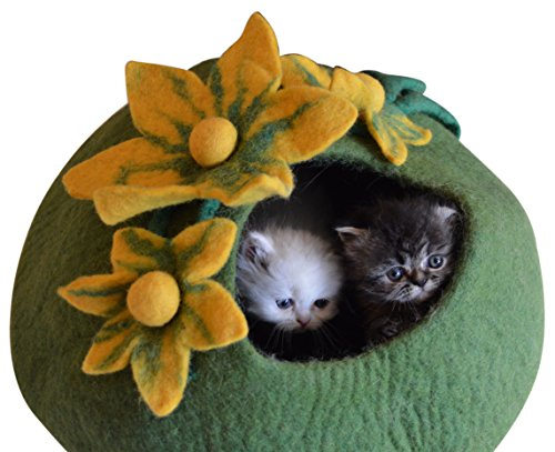 Best Cat Cave Bed, Unique Handmade Natural Felted Merino Wool, Large