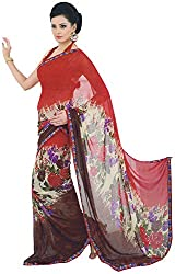 Ambica Saahi Women's Georgette And Chiffon Saree (Ambica 1004B_1, Red, Brown Colour)