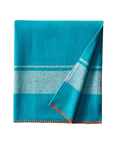 bambeco Rugby Stripe Wool Throw, Ocean