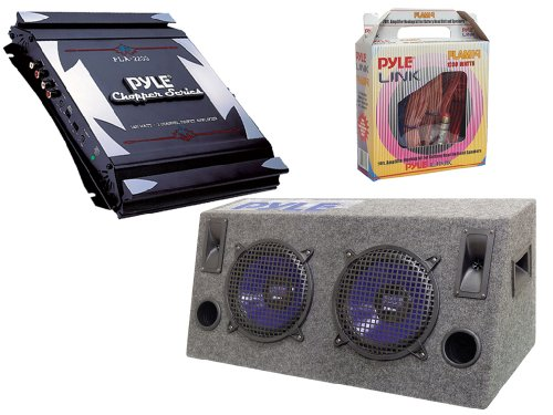 "Pyle Full Amplifier/Subwoofer/Installation Package For Car/Truck/Suv -- Pla2200 2-Channel 1400W Bridgeable Mosfet Amplifier + Plhb10 Dual 10"" 800W Hatchback Speaker Cabinet + Plam14 20 Ft. 8 Gauge 1000W Amplifier Hookup For Battery Head Unit And Speakers"