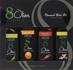 8 Olivos Premuim Flavor Sampler Gift Pack Premium Extra Virgin 4-PACK Award Winning Cold Press