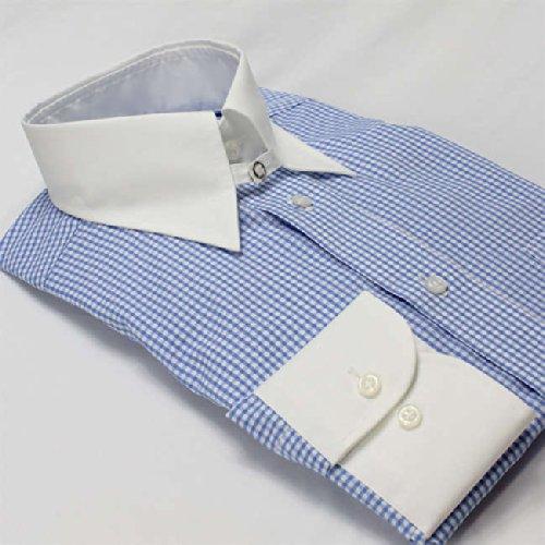 ワイシャツ 軽井沢シャツ [A10KZC208] クレリック ライトブルーギンガムチェック 形態安定 らくらくオーダー受注生産商品