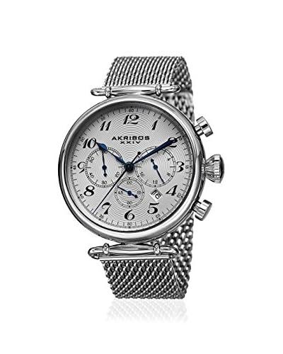 Akribos XXIV Men's AK627SSW Silver-Tone Mesh Watch