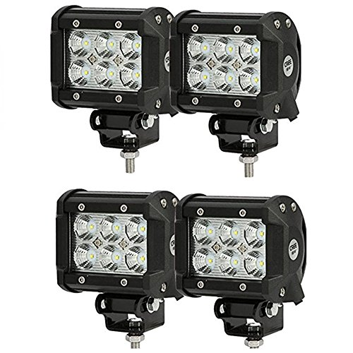 SHANREN 4Pcs 4″ 18W CREE LED Work Light bar Spot beam 30 degree waterproof for Off-road Truck Car ATV SUV Jeep Boat 4WD ATV Auxiliary Driving Lamp(Park of 4)