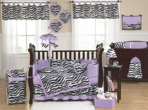 Purple and Funky Zebra Animal Print Baby Girl Bedding 9pc Crib Set by Sweet Jojo Designs
