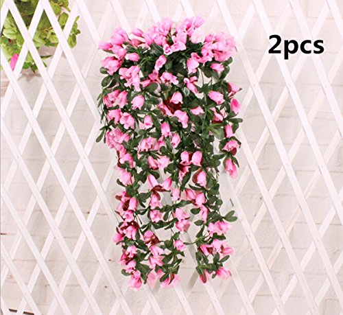 Coobl®artificial Silk Rose Bud Garland Plants Vine Flowers Floral Wedding Party Wall Home Decor Purple(2pcs (pink)