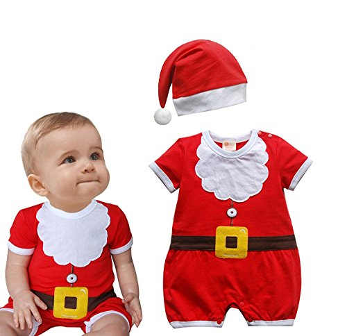 Oryer Christmas Cute Baby Boys Suit Santa Claus Costume Romper + Hat