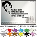 Elvis Presley Walk a Mile in My Shoes Quote Wall Sticker Wall Decal Wall Art Vinyl Wall Mural