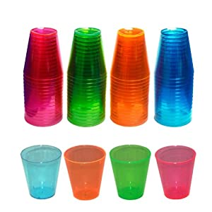 Neon Assorted Party Shot Glasses - Made of Special Blacklight Reactive Hard Plastic (2 Ounce - Package of 60)