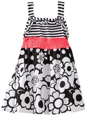 Rare Editions Little Girls' Flower Embr Aline Dress, Black/White, 4