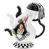 Disney Parks Alice in Wonderland Mad Hatter Pattern Ceramic Triple Spout Teapot
