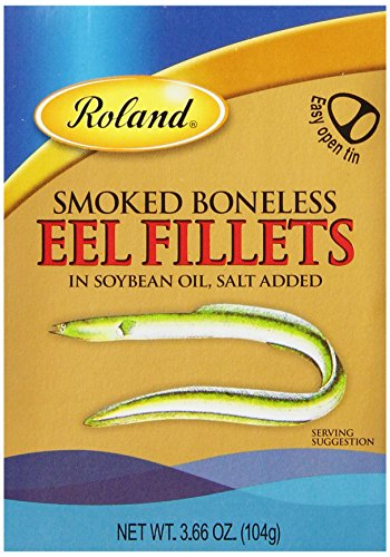 Roland Smoked Boneless Eel Fillets in Soybean Oil, 3.66-Ounce Cans (Pack of 10)