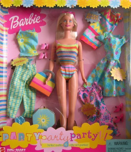 Party Party Party Barbie Doll w 4 Outfits - Wal Mart Special Edition (2001) by Mattel (English Manual)