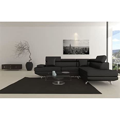 Scoop XL - Sofá esquinero en ángulo recto con 4 plazas, imitación, color negro