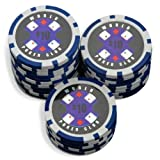 Sleeve of 25 World Poker Club $10 Blue Poker Chips Clay 14gby Bullets Poker
