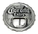 Corona Extra Bottle Opener Beer Cap Belt Buckle Silver Distressed Look