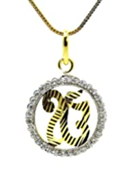 'Ik Onkar' C.Z. Gold Plated Pendant With Chain By BeYou