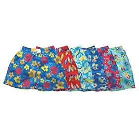 iPlay Re-usable Boys Swim Trunks w/Diaper - Hawaiian Print
