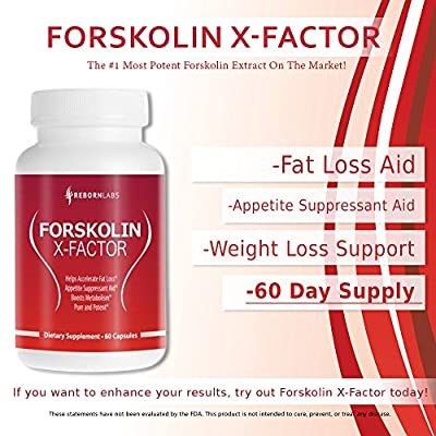 FORSKOLIN X-FACTOR | Super-Strength Forskolin Extract | 60-DAY SUPPLY | Strong Fat Burner & Appetite Suppressant | Potent 20% Extract | For Men & Women