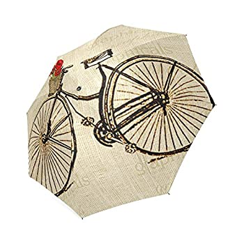 Vintage Bicycle and Flowers Print Design Lightweight Rain/Sun Umbrella Folding Anti-uv, Wind-proof Travel Umbrella