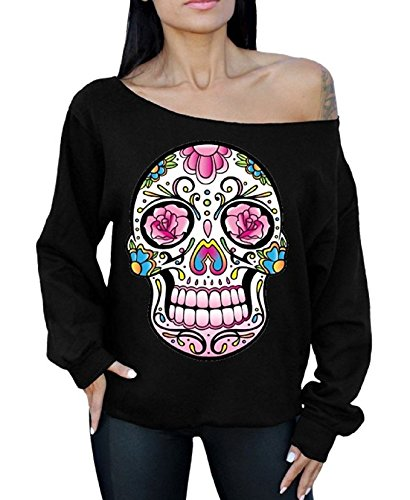 Pink Flower Skull Off the Shoulder Sweatshirt