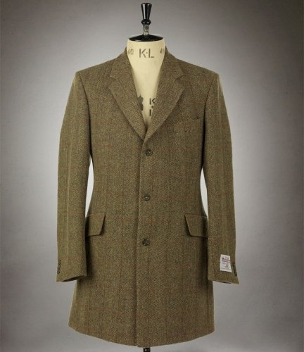 Mens Murdo Classic 3 Quarter Length Harris Tweed Coat with Harris Tweed Lining