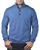 100% CASHMERE 4 BUTTON MOCK COLLAR SWEATER. MADE IN ITALY. H8