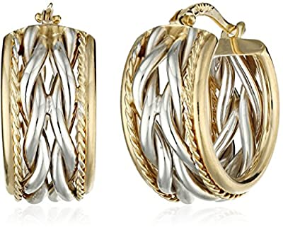 14k Gold Two-Tone Braid Center with Polished Edge Hoop Earrings