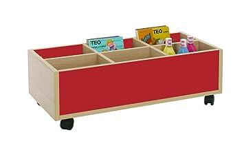 Mobeduc 600905HR10 Carrello-Libreria bassa, in legno, colore: rosso ciliegia/faggio, 80 x 40 x 27 cm