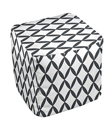 E by design FG-N1-White-13 Geometric Pouf - 1