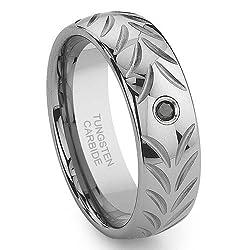 Tungsten Carbide Black Diamond Chevron Wedding Band Ring Sz 9.5