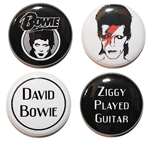 Set da 4 pezzi, motivo: David Bowie BUTTON Company-Bottone da ZOMBIE