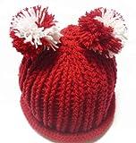 (ル・タン)Le TEMPS ハンドメイド ベビー用ニット帽子 ボンボン付 1~3歳用 6(レッド×ホワイト)